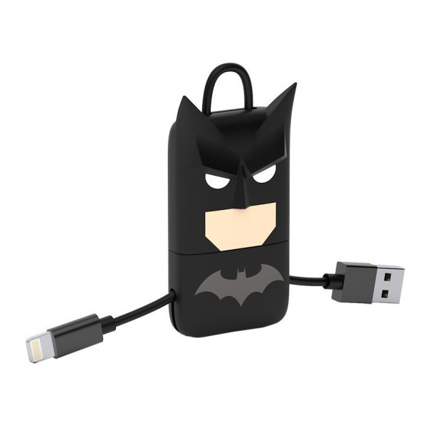 Tribe - Batman - DC Comics - Cavo Lightning USB - Portachiavi - Dati e Ricarica per Apple iPhone - Certificato MFi - 22 cm