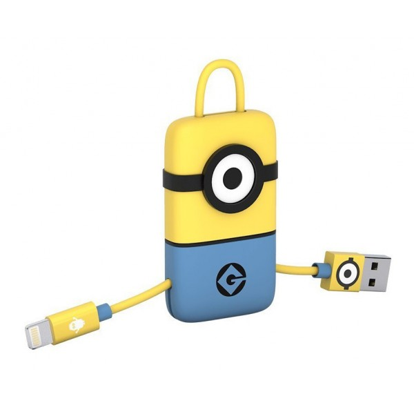 Tribe - Carl - Minions - Cavo Lightning USB - Portachiavi - Dati e Ricarica per Apple iPhone - Certificato MFi - 22 cm