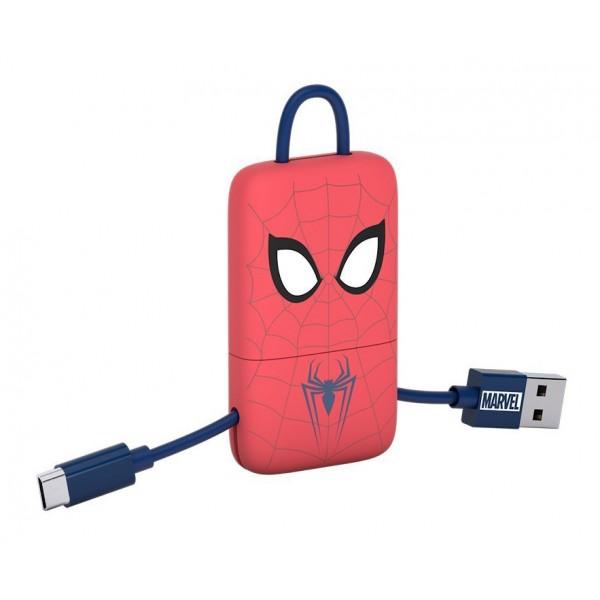 Tribe - Spider-Man - Marvel - Cavo Micro USB - Portachiavi - Dati e Ricarica per Android, Samsung, HTC, Nokia, Sony - 22 cm