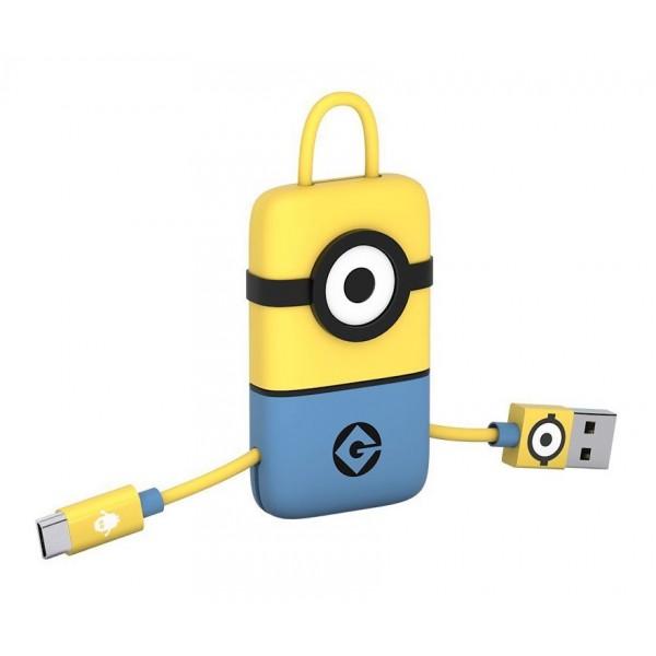 Tribe - Carl - Minions - Cavo Micro USB - Portachiavi - Dati e Ricarica per Android, Samsung, HTC, Nokia, Sony - 22 cm