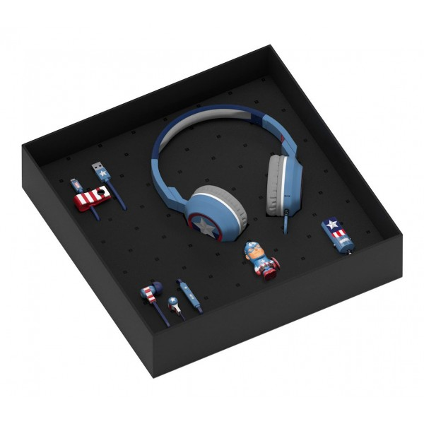 Tribe - Captain America - Marvel - Gift Box - 16 GB USB Stick - Car Charger - Earphones - On-Ear Headphones - Micro USB Cable