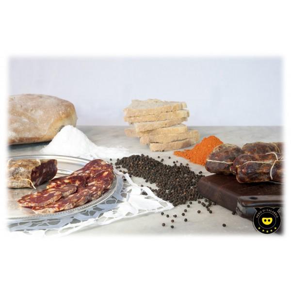 Nero di Calabria - Soppressata Rossa Dolce - Salumi Artigianali - Tradizione Calabra - 400 g