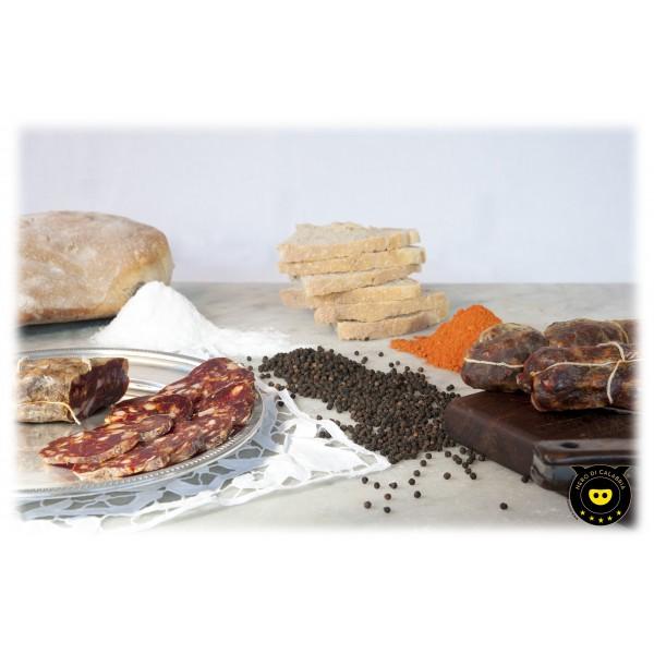 Nero di Calabria - Soppressata Piccante - Salumi Artigianali - Tradizione Calabra - 400 g