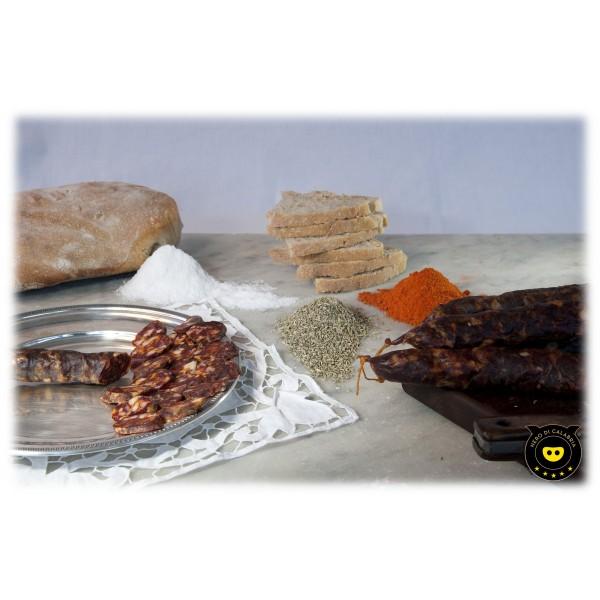 Nero di Calabria - Salsiccia Rossa Dolce con Finocchietto - Salumi Artigianali - Tradizione Calabra - 340 g