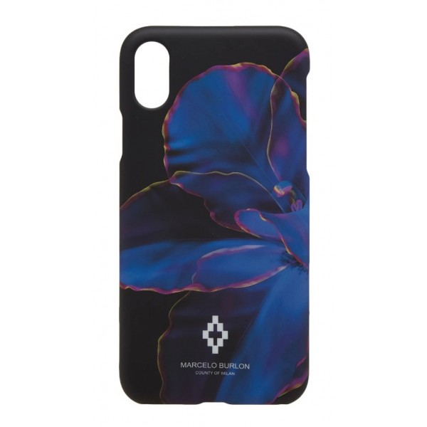 Marcelo Burlon - Cover Blue Flower - iPhone X - Apple - County of Milan - Cover Stampata