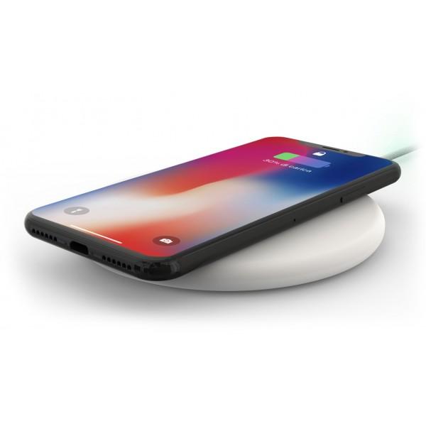 Philo - Pad di Ricarica Wireless con Cavo USB da 1,5 m - Caricatore da Tavolo - Bianco - Apple - Samsung