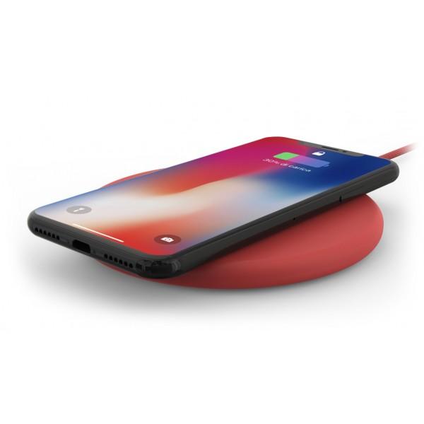 Philo - Pad di Ricarica Wireless con Cavo USB da 1,5 m - Caricatore da Tavolo - Rosso - Apple - Samsung