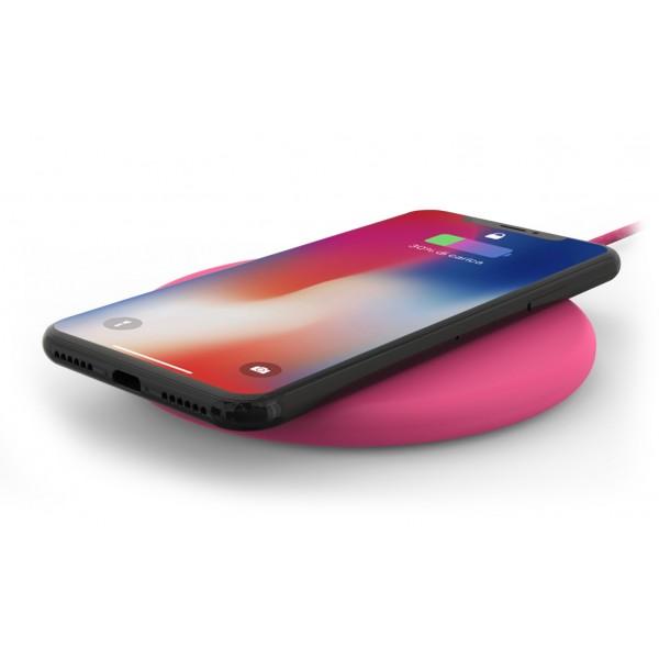 Philo - Pad di Ricarica Wireless con Cavo USB da 1,5 m - Caricatore da Tavolo - Rosa - Apple - Samsung
