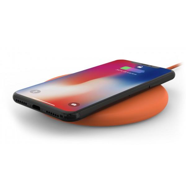 Philo - Pad di Ricarica Wireless con Cavo USB da 1,5 m - Caricatore da Tavolo - Arancione - Apple - Samsung
