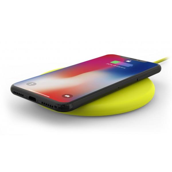 Philo - Pad di Ricarica Wireless con Cavo USB da 1,5 m - Caricatore da Tavolo - Giallo - Apple - Samsung