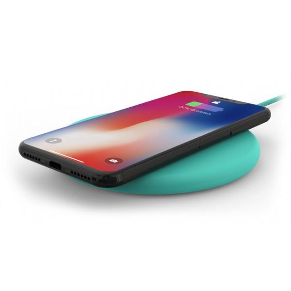 Philo - Pad di Ricarica Wireless con Cavo USB da 1,5 m - Caricatore da Tavolo - Azzurro - Apple - Samsung