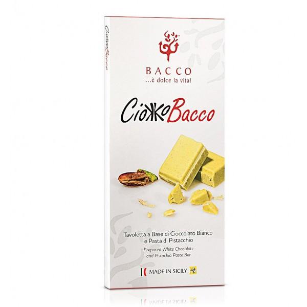 Bacco - Tipicità al Pistacchio - CiokkoBacco - Tavoletta di Cioccolato Bianco al Pistacchio - Cioccolato Artigianale - 100 g