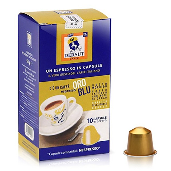 Dersut Caffè - Capsule Oro Blu Compatibili Nespresso - Caffè in Capsule - 10 x 5,5 g
