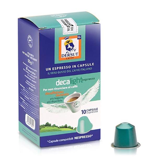 Dersut Caffè - Capsules Decalight Nespresso Compatible - Coffee Capsules - 10 x 5,5 g