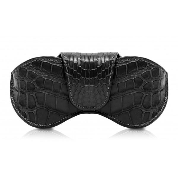 Ammoment - Custodia Occhiali - Coccodrillo Marino in Nero - Cover Occhiali in Pelle Luxury - Porta Occhiali