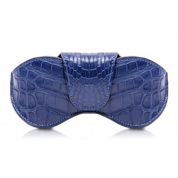Ammoment - Custodia Occhiali - Coccodrillo Marino in Blu Navy - Cover Occhiali in Pelle Luxury - Porta Occhiali