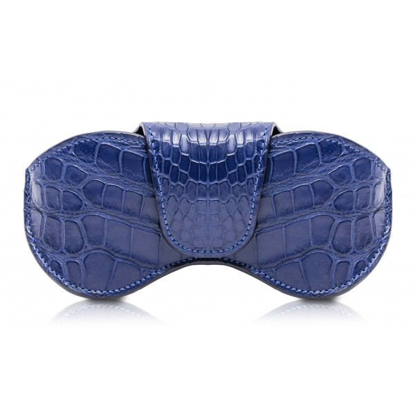 Ammoment - Eyeglass Case - Porosus Crocodile in Blue Navy - Luxury Eyeglass Leather Cover