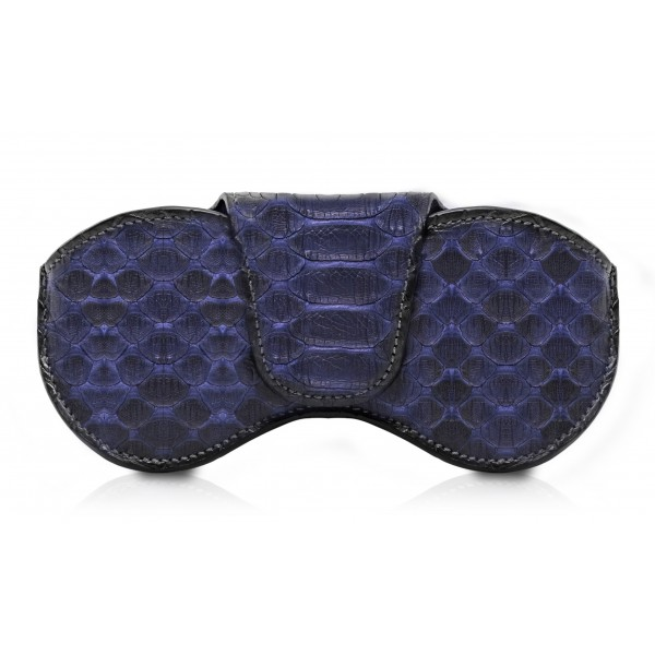 Ammoment - Custodia Occhiali - Pitone in Blu Navy - Cover Occhiali in Pelle Luxury - Porta Occhiali
