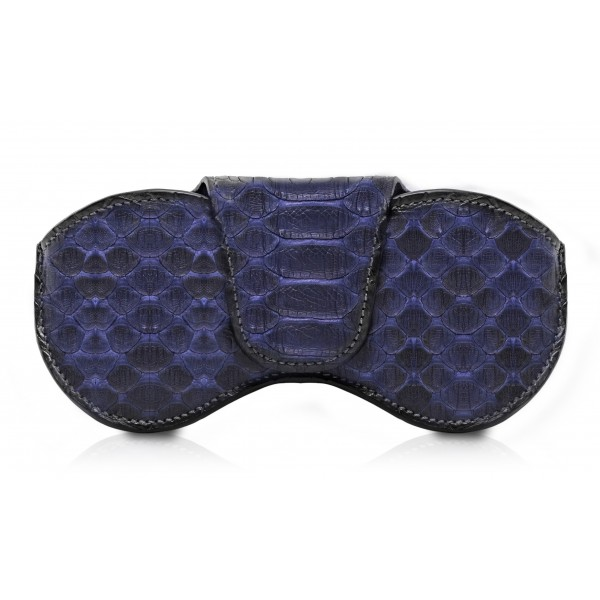 Ammoment - Eyeglass Case - Python in Blue Navy - Luxury Eyeglass Leather Cover