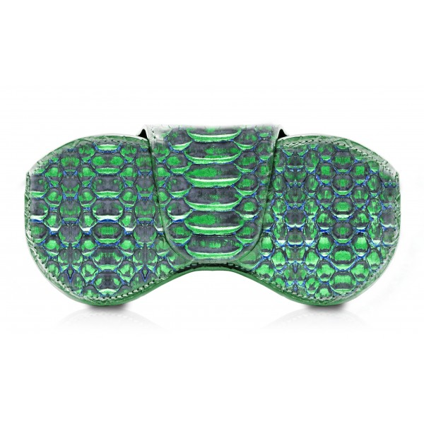 Ammoment - Eyeglass Case - Python in Crocus Green Metallic - Luxury Eyeglass Leather Cover