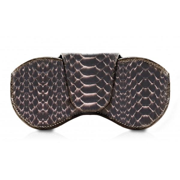 Ammoment - Custodia Occhiali - Pitone in Rosa Pepita - Cover Occhiali in Pelle Luxury - Porta Occhiali