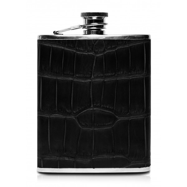 Ammoment - Hip Flask - Crocodile in Black - Luxury Stainless Steel Hip Flask in Leather