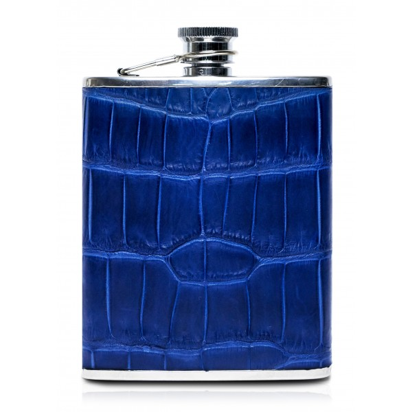 Ammoment - Hip Flask - Crocodile in Blue Navy - Luxury Stainless Steel Hip Flask in Leather