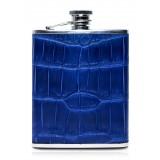Ammoment - Fiaschetta - Coccodrillo in Blu Navy - Fiaschetta Luxury in Acciaio Inossidabile e Pelle