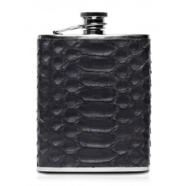 Ammoment - Fiaschetta - Pitone in Nero - Fiaschetta Luxury in Acciaio Inossidabile e Pelle