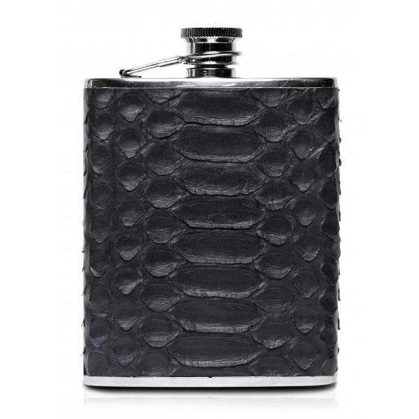 Ammoment - Hip Flask - Python in Black - Luxury Stainless Steel Hip Flask in Leather