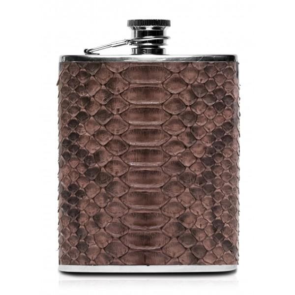 Ammoment - Fiaschetta - Pitone in Marrone - Fiaschetta Luxury in Acciaio Inossidabile e Pelle
