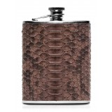 Ammoment - Hip Flask - Python in Brown - Luxury Stainless Steel Hip Flask in Leather