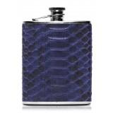 Ammoment - Fiaschetta - Pitone in Blu Navy - Fiaschetta Luxury in Acciaio Inossidabile e Pelle