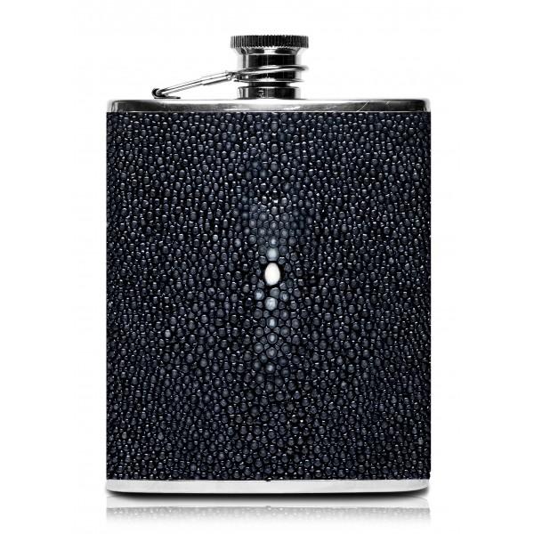 Ammoment - Fiaschetta - Razza in Nero - Fiaschetta Luxury in Acciaio Inossidabile e Pelle