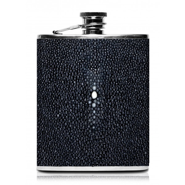 Ammoment - Hip Flask - Stingray in Black - Luxury Stainless Steel Hip Flask in Leather