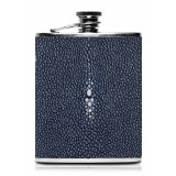 Ammoment - Hip Flask - Stingray in Blue Navy - Luxury Stainless Steel Hip Flask in Leather