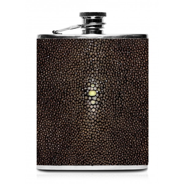 Ammoment - Fiaschetta - Razza in Marrone - Fiaschetta Luxury in Acciaio Inossidabile e Pelle