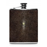 Ammoment - Hip Flask - Stingray in Brown - Luxury Stainless Steel Hip Flask in Leather