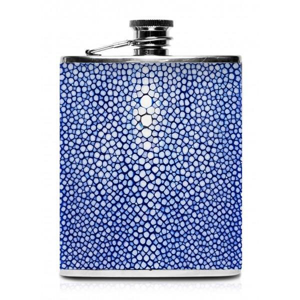 Ammoment - Fiaschetta - Razza in Blu - Fiaschetta Luxury in Acciaio Inossidabile e Pelle