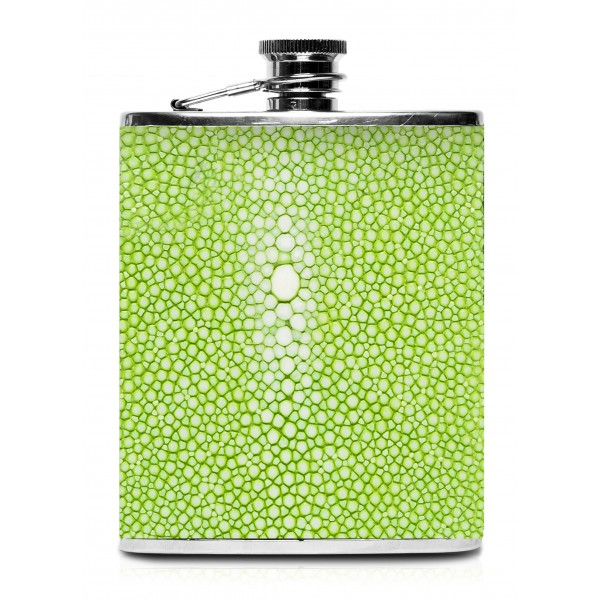 Ammoment - Hip Flask - Stingray in Light Green - Luxury Stainless Steel Hip Flask in Leather