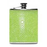 Ammoment - Fiaschetta - Razza in Verde Chiaro - Fiaschetta Luxury in Acciaio Inossidabile e Pelle