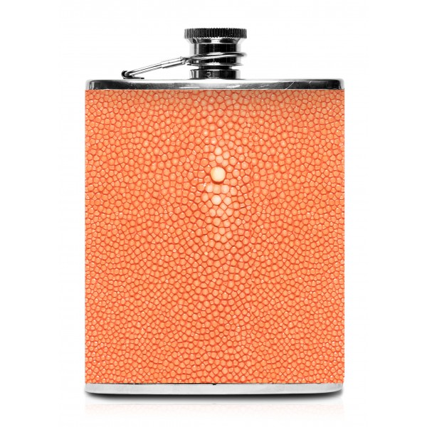 Ammoment - Fiaschetta - Razza in Arancione - Fiaschetta Luxury in Acciaio Inossidabile e Pelle
