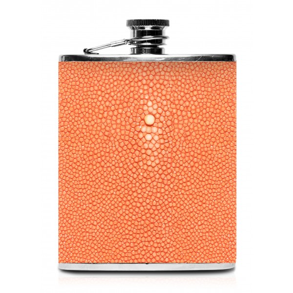 Ammoment - Hip Flask - Stingray in Orange - Luxury Stainless Steel Hip Flask in Leather