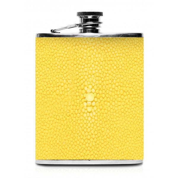 Ammoment - Fiaschetta - Razza in Giallo - Fiaschetta Luxury in Acciaio Inossidabile e Pelle