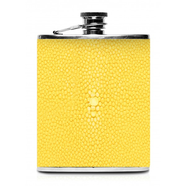 Ammoment - Hip Flask - Stingray in Yellow - Luxury Stainless Steel Hip Flask in Leather
