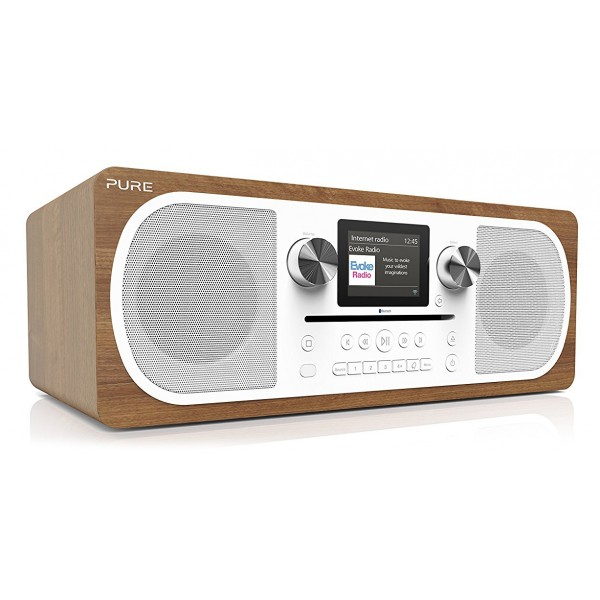 Pure - Evoke C-F6 - Walnut - Stereo All-in-One Music System with Bluetooth - High Quality Digital Radio