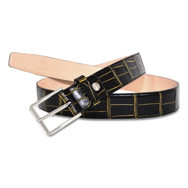 Ammoment - Belt - Nile Crocodile in Crack Black and Gold - Leather High Quality Luxury Belt
