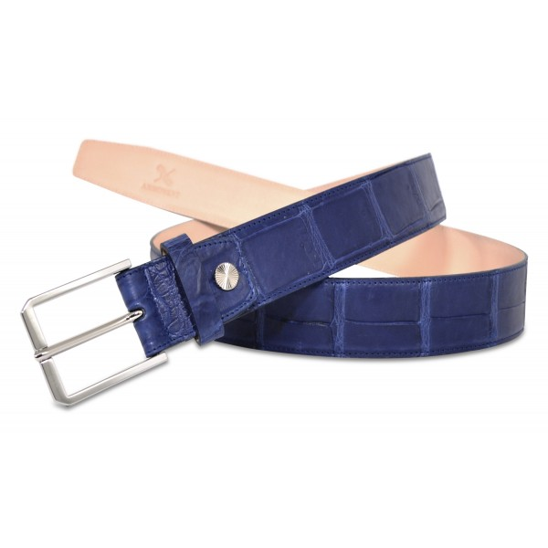 Ammoment - Cintura - Coccodrillo del Nilo in Blu Navy - Cintura in Pelle di Alta Qualità Luxury