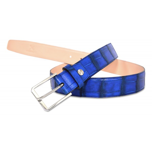 Ammoment - Belt - Nile Crocodile in Kookai Electric Blue - Leather High Quality Luxury Belt