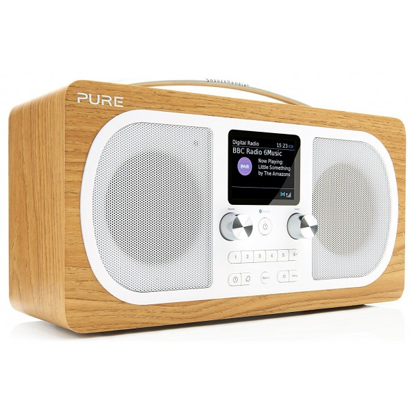 Pure - Evoke H6 - Oak - Portable DAB/DAB+ and FM Radio with Bluetooth - High Quality Digital Radio